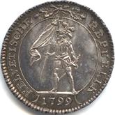 スイス ヘルベティア共和国 10バッツェン銀貨[Tone AU/UNC]