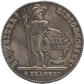 スイス ルッツェルン 4フランケン銀貨[Toned EF+]