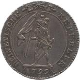 スイス ヘルベティア共和国 10バッツェン銀貨[Toned EF]