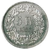 スイス ソロツッルン 射撃祭記念5フラン銀貨